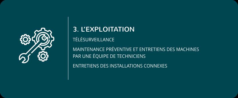 3.Le développement : Télésurveillance, Maintenance préventive et entretiens des machines par une équipe de techniciens, Entretiens des installations connexes