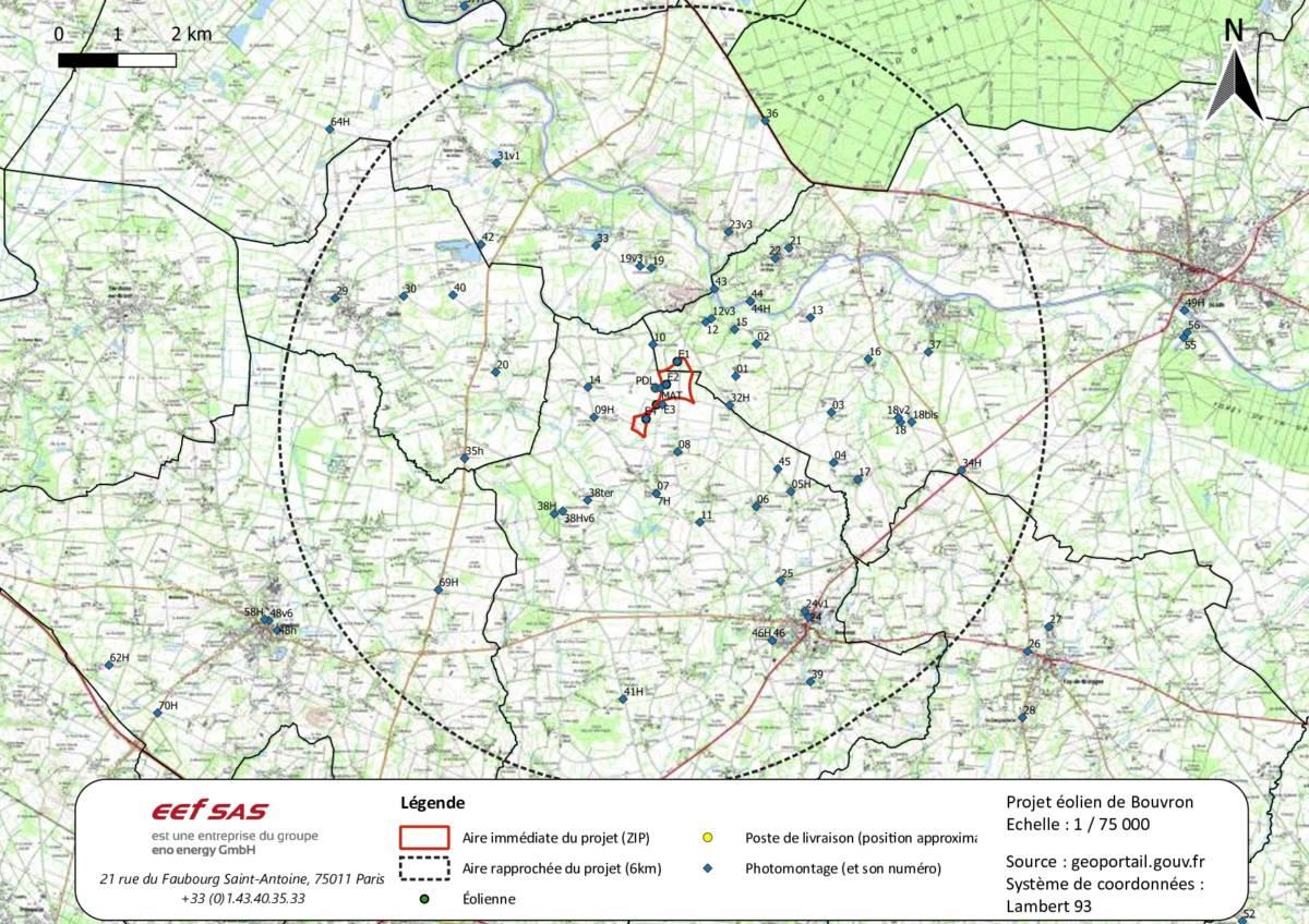 Carte de localisation des photomontages du projet de parc éolien de Bouvron