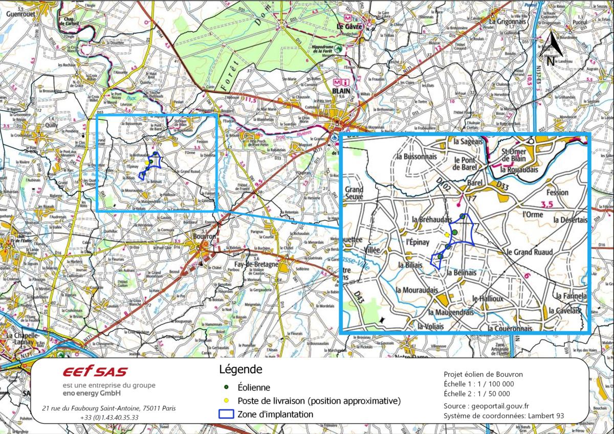 Carte de la zone d'implantation du parc éolien de Bouvron