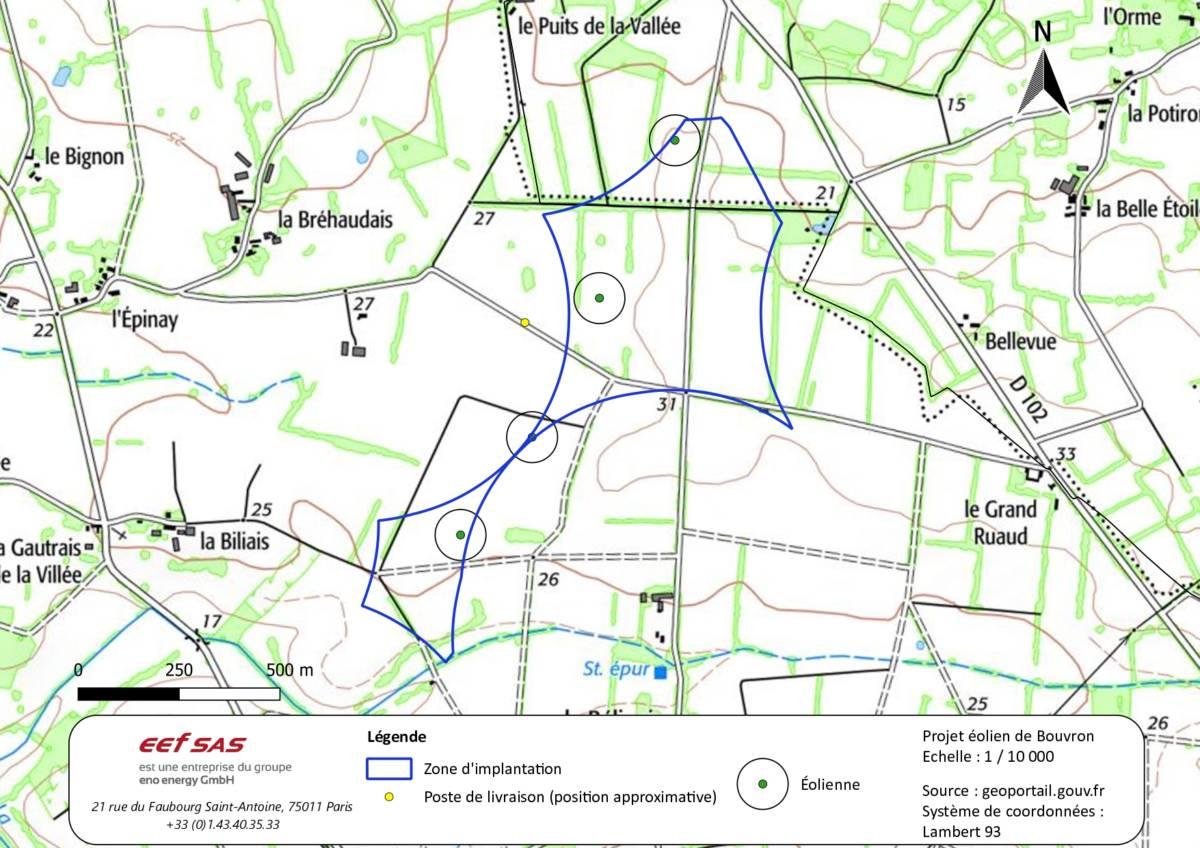 Carte d'implantation du projet de parc éolien de Bouvron
